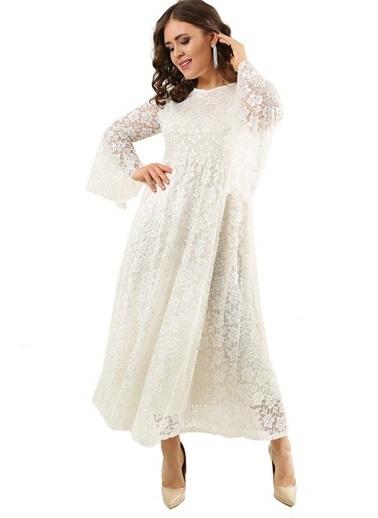Angelino Butik Büyük Beden Nikah ve Gelinlik Dantel Elbise DD791 Beyaz
